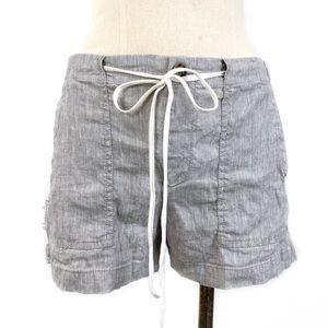 Lou & Grey- Gray Micro Stripe Linen Blend Shorts S